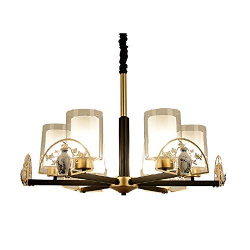 Boaber Villa - Salón o restaurante o habitación de cerámica para suelo, hierro forjado, lámpara Atmospheric 6 x E27, 72 x 48 cm