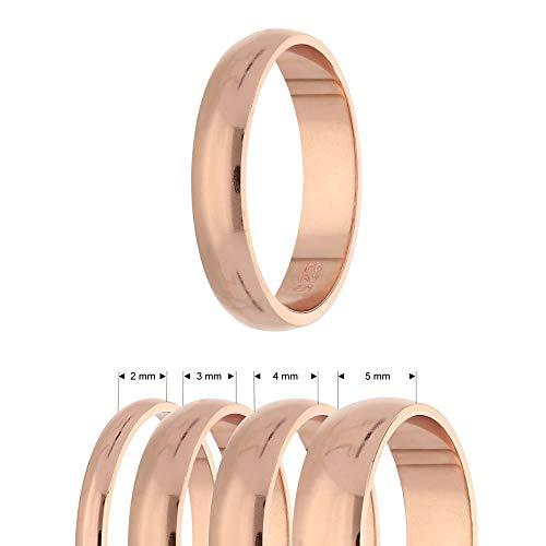 Treuheld® 925 Sterling Silber Ring   Roségold   Ringgröße 51   Breite 2mm   Damen & Herren   glänzend   Freundschaftsring Verlobungsring Ehering
