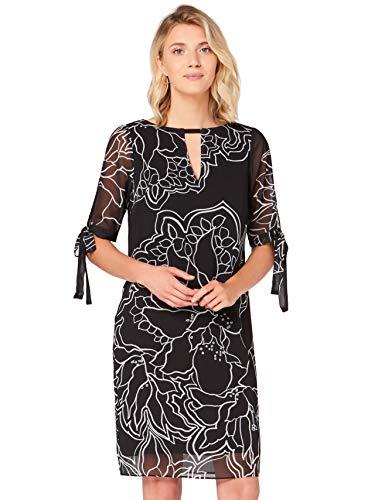 Amazon-Marke: TRUTH & FABLE Damen Chiffon-Kleid mit A-Linie, Mehrfarbig (Schwarz/Weiß), 42, Label:XL
