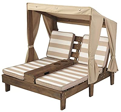 KidKraft Double Chaise Lounge with Cup Holders, Kids Outdoor Furniture, Espresso with Oatmeal and White Striped Fabric ,Gift for Ages 3-8 from KIDKRAFT (DropShip)