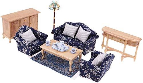 Casa de muñecas a Escala 1/12 Hecha a Mano, Muebles de Sala de Estar, sofá Floral, sofá, Mesa Auxiliar, lámpara de pie, Juego de té, Accesorios para escenas de Vida