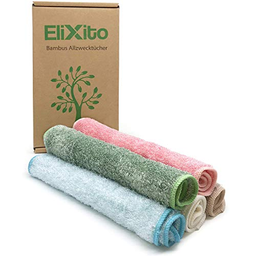 EliXito - Bambus Putztücher im 5er Set für Haushalt & Küche - Premium Bambus Tücher extra groß [29x26cm] - Vielfältig einsetzbare Allzwecktücher - Waschbar & nachhaltig