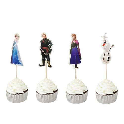 48PCS Frozen Cupcake Toppers for Kids Birthday Party Cake Decoration