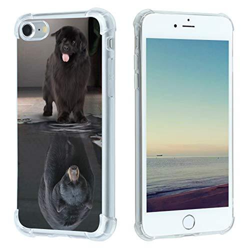 BePlus Schutzhülle für iPhone SE 2020/8/7, Neuf&ländisches Raubtierbär, Hülle für iPhone SE 2020/8/7, mit süßem Mode-Tiermuster, für Damen & Herren, schmal, weich, TPU, Fallschutz