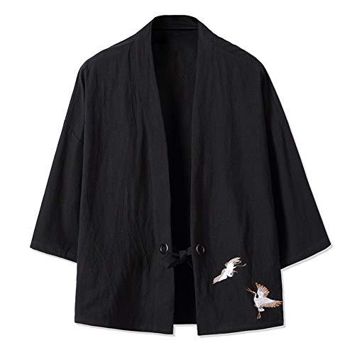 LIZANAN Retro- Männer dünne Jacke Stickerei Crane Coat [Schwarz, Größe 4XL]...
