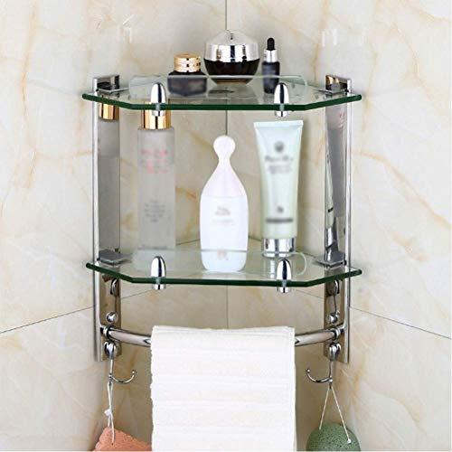 FYSY Badezimmer-Eckregal aus Edelstahl für die Außenwand, Dusche, Eckregal, 7 mm gehärtetes Glas, 1 Ebene, fangkai77 (Größe: 2 Ebenen)