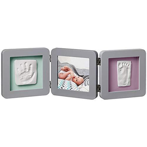 Baby Art My Baby Touch Cornice Doppia Portafoto con Kit 2 Impronte per Mani e Piedi del Bambino, Regalo di Nascita o Bomboniera, Grigio
