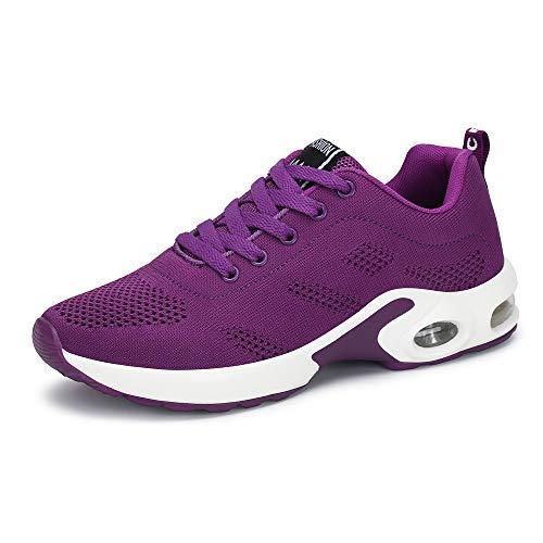 Zapatillas Deportivas de Mujer Air Cordones Zapatillas de Running Fitness Sneakers 4cm Negro Rojo Rosado Púrpura Púrpura 38