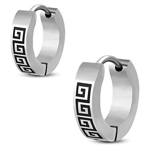 Bungsa Pendientes de aro de diseño griego, color negro, 4 mm, 1 par de pendientes de aro con cierre de clip, de acero inoxidable, para mujer y hombre
