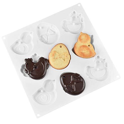9 Stampo per Biscotti per Gallo cavità Stampo in Silicone per Gallina Stampo per Cioccolato All'Uovo Stampo in Silicone per Dessert Strumenti per La Decorazione della Torta