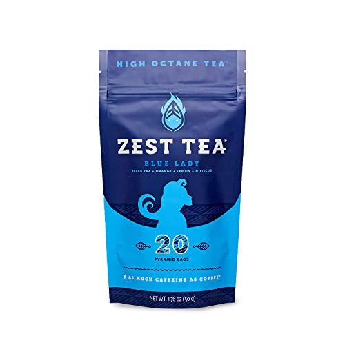 Zest Tea Alta Caffeina Blend (3X Regolare) - sano Sostituti di caffè, agrumi e Hibiscus sapore, 20 Sachet Package (50 grammi) 20 Borsa Standup Pouch Tè Blue Lady Nero
