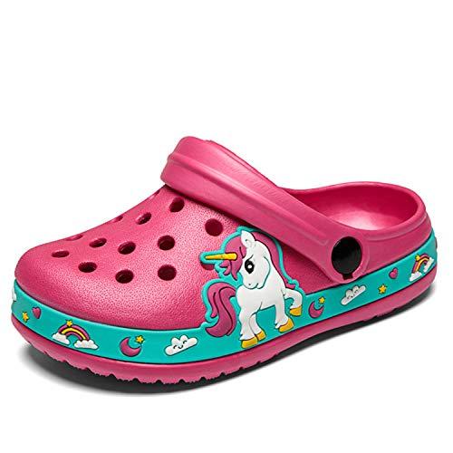 Sandalias de playa para niño, zapatillas de verano, antideslizantes, para interior y exterior, Rojo (rosa rojo), 28 EU