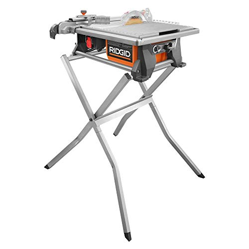 Ridgid 6.5 Amp 7 in. Table Top Wet Tile Saw with Stand and 2 Diamond Blades R4021S1