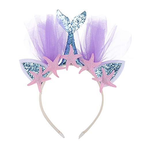 Beaupretty Diadema con diseño de Sirena Oreja arcoíris con Tul Colorido de niñas para Fiestas (Azul con con estrella de mar)