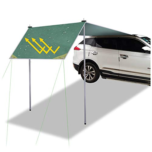 Buycitky Auto Markise Tarp Sonnensegel Wasserdicht, UV-Schutz Autozelt Dachzelt Autodachzelt mit Heringe und Seilen, 2.8 * 1.8m Leicht Tarp Auto Camping Zelt
