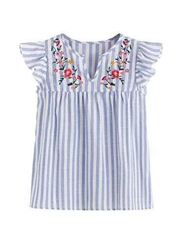Floerns - Blusas para mujer estilo campesino mexicano bordado -  Azul -  X-Small
