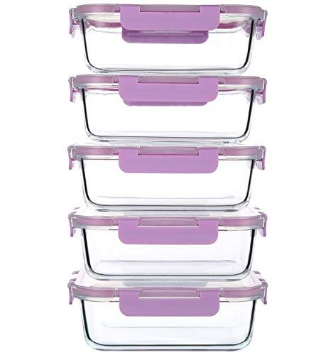 CREST Lot de 5 Récipient en Verre, Boîtes Alimentaires, 1040 ML, Contenants de Stockage de Repas en Verre, sans BPA
