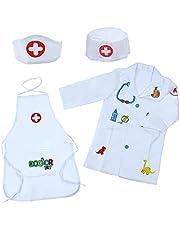 Disfraz Medico Disfraz Juguete de Doctora Enfermera Disfraz Patrón de Dinosaurio Cosplay de Médico Juego Niño 3 4 5 6 7 Años Regalo para Niños Niñas