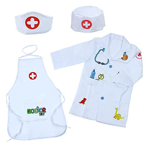 Disfraz Medico Disfraz Juguete de Doctora Enfermera Disfraz Patrn de Dinosaurio Cosplay de Mdico Juego Nio 3 4 5 6 7 Aos Regalo para Nios Nias