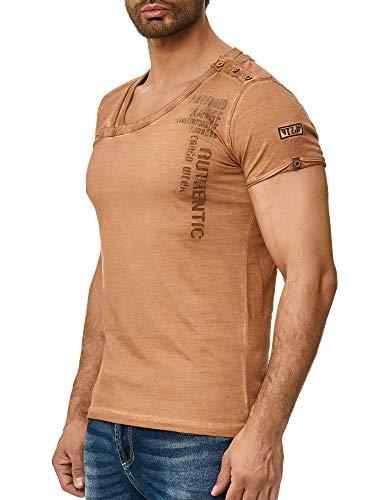 Tazzio Herren T-Shirt Kurzarm Shirt und Rundhalsausschnitt 100% Baumwolle Camel L