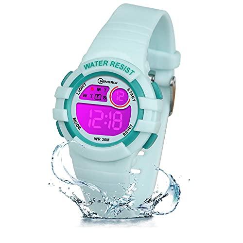 ZKIAH Reloj Digital Niño Niña Infantil, Reloj LED con Luz Nocturna de 7 Colores, Relojes para Niños con Cronómetro de Alarma, Reloj Deportivo multifunción Resistente al Agua