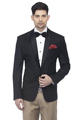 FAVOROSKI Designer Men's Slim Italian Fit Shawl Collar Tuxedo Suit Blazer, Black