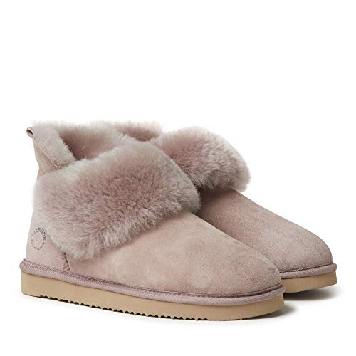 Dearfoams Women's Fireside Perth Shearling Foldover Boot Slipper, Dusty Pink, 9