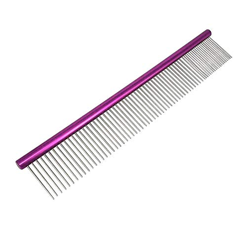 YITON Pet Comb Purple Stainless Steel Cat Dog Comb Professional Lightweight Comfortable Rounded Spine Puppy Pet Grooming Tool 2Pcs