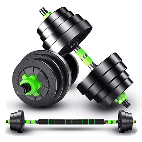 2 in 1 Innovatives Hantelset Mit Silikonüberzug, Kurzhanteln & Langhantel in Einem Effektives Fitness Krafttraining, Hantel,Black Green,10kg