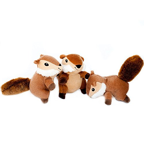 ZippyPaws - Woodland Friends Burrow, Interactive Squeaky Hide and Seek Plush Dog Toy - Chipmunk Miniz, 3 Pack