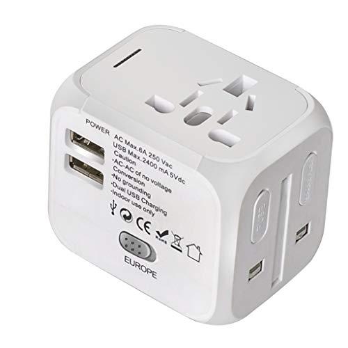 Adaptador de corriente universal para viajes inter Adaptador de viaje mundial, adaptador de cargador USB, viaje universal para el hogar Adaptador USB Reemplazo para los Estados Unidos UE UE UK AUS Tel