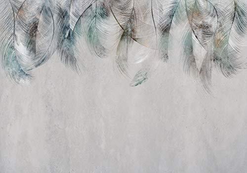 decomonkey Fototapete Feder 350x256 cm XL Tapete Fototapeten Vlies Tapeten Vliestapete Wandtapete moderne Wandbild Wand Schlafzimmer Wohnzimmer Steinwand Stein