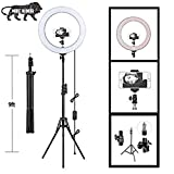 """PYXBE 12"""" Inches Big LED Ring Light for Photo and Video with 9 Feet Tripod Stand Compatible with Camera and Smartphones for Tiktok YouTube (Macro Ringlight Flashes) professional studio microphones Apr, 2021"""