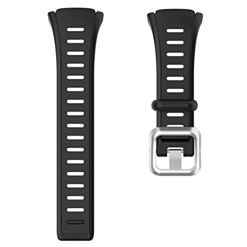 AWADUO für Polar FT60 Silikon Ersatzband, Ersatz Silikon Handgelenk Band Strap für Polar FT60(Männer), Weich und Langlebig(Silikon Schwarz)