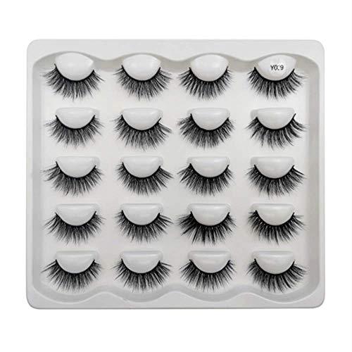 Beauty Glazed Cils de vison 3D faits à la main cils moelleux naturels réutilisables extensions bouclés maquillage cils en vrac volume luxueux doux charmants faux cils (10 paires) #09