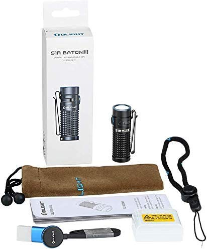 Olight S1R Baton II EDC Torch Light Max 1000 Lumens Compact Single Rechargeable IMR16340 Powered LED Flashlight Torch for Camping,Hiking Dog Walking