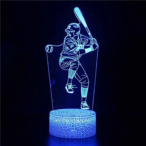Deportes de béisbol únicos base agrietada luz nocturna luz de visión 3D luz LED multicolor decoración creativa lámpara de mesa pequeña luz acrílica multicolor