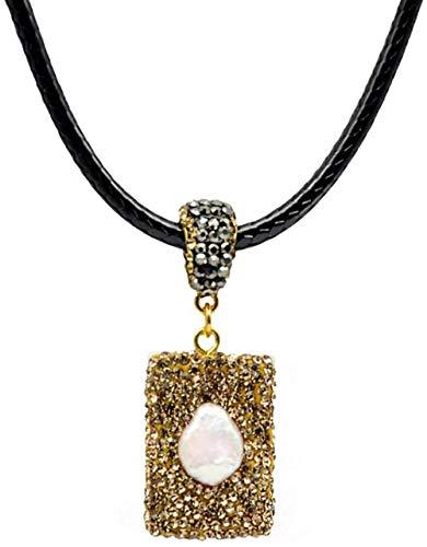 NC110 Colgantes Cuadrados Collar de Concha Mujeres DIY Cuerda de Cuero Collar de Perlas Fabricación de Joyas de Moda YUAHJIGE