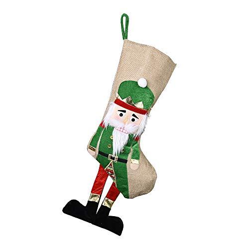 YSG Weihnachtsdekoration Weihnachtsstrumpf Candy Bag Geschenktüte Nussknacker Weihnachtsstrumpf Grün