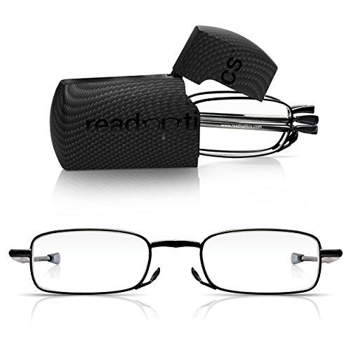 Read Optics faltbare Vollrand-Lesebrille für Herren/Damen in Sehstärke 2,0 in Schwarz mit rechteckigen Gläsern. Mit klappbaren Bügeln aus Metall und Hartschalen-Etui. Leichte Reise-Lesehilfe