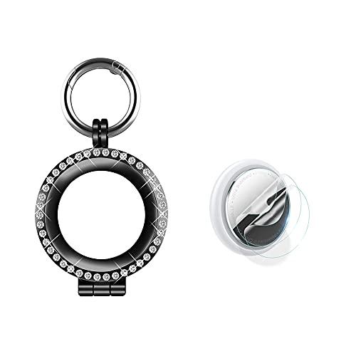 Bling - Carcasa protectora de metal para Airtag, marco de cristal de diamante a prueba de golpes, con protector de pantalla para AirTag Tracker (negro)
