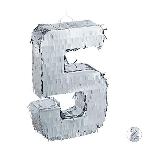 Relaxdays Pignatta a Forma di Numero 5, Pentolaccia Il Compleanno ed Anniversario, per i Bambini & Gli Adulti, Argento, Colore, 10031483_907