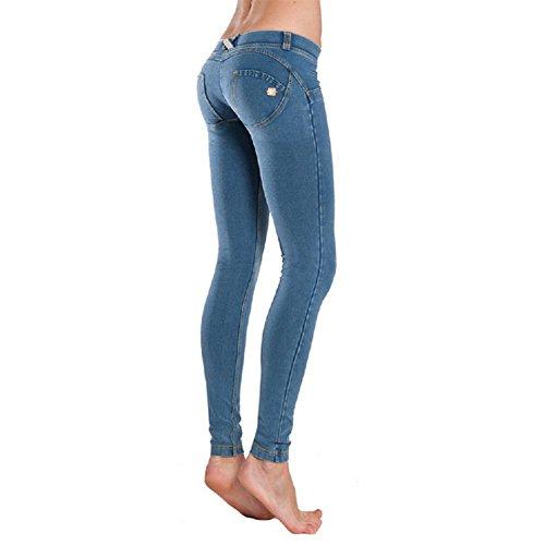 1Bests Damen Slim Low Waist Push Up Jeans Hose Skinny Figurbetonter Denim Casual Sport Yoga Leggings, hellblau, Large