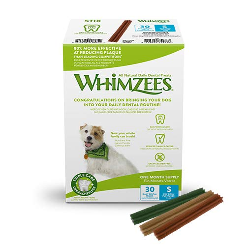 WHIMZEES Natürliche Getreidefreie Zahnpflegesnacks, Kaustangen für Hunde, Monats-Packung, Stix, Gr. S, 30 Stück