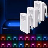 LumiLux Toilet Light Motion Detection (Pack of 3) - Advanced 16-Color LED Toilet Bowl Light, Internal Memory
