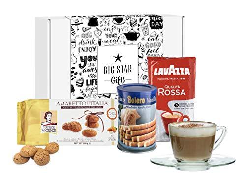 Kaffeekorb in Geschenkbox, italienischer gemahlener Kaffee, leckere Kekse mit Tasse und Untertasse, tolle Geschenkidee für alle Kaffeeliebhaber
