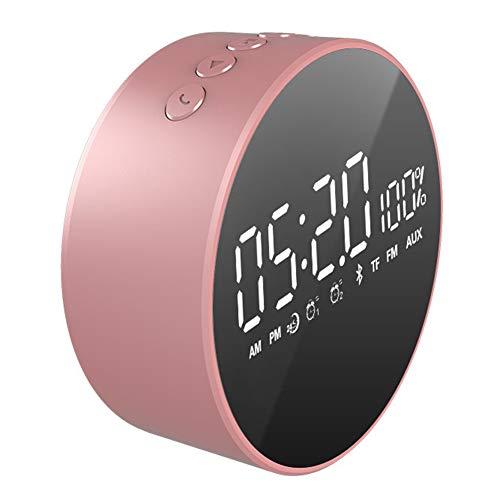 MJBOY Wecker Bluetooth Lautsprecher Desktop-Mini-Wecker beweglicher im Freien Auto-Subwoofer,Pink