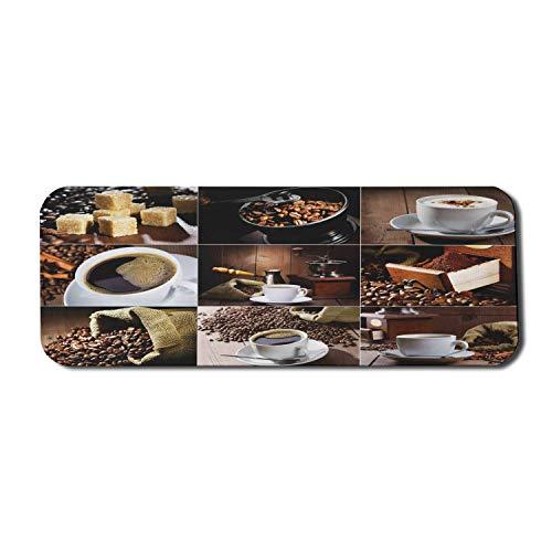Coffee Computer Mouse Pad, verschiedene Fotos von Kaffeetassen und gerösteten Sitzsäcken Grinder Sugarcubes Collage, Rechteck rutschfeste Gummi Mousepad Large Brown White