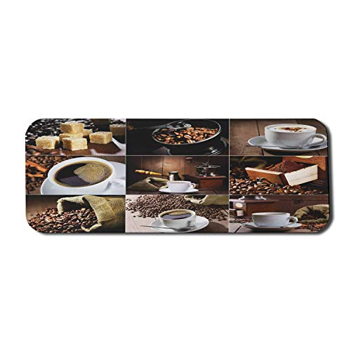 Coffee Computer Mouse Pad, Different Photos of Coffee Mugs and Roasted Bean Bags Grinder Sugarcubes Collage, Rectangle Non-Slip Rubber Mousepad Large Brown White