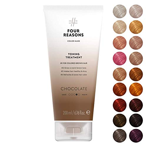 Four Reasons Color Mask - Chocolate - (19 Colors) Toning Treatment, Color Depositing Conditioner, Tone & Enhance Color-Treated Hair - Semi Permanent Hair Dye, Vegan and Cruelty-Free, 6.76 fl oz